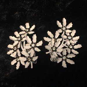 Vintage White Flower and Rhinestone Clip One